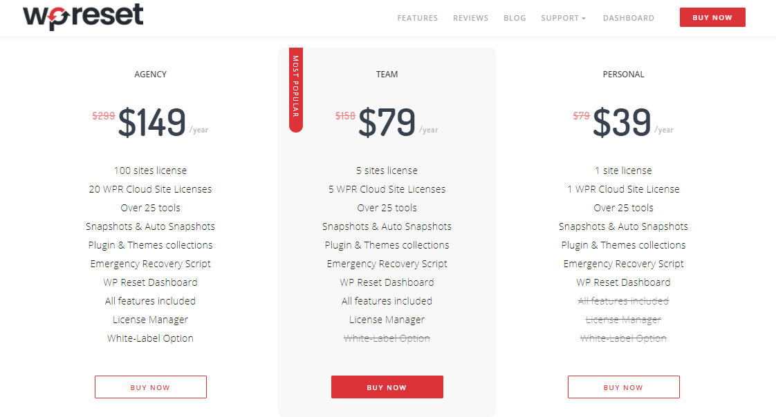 WP Reset pricing