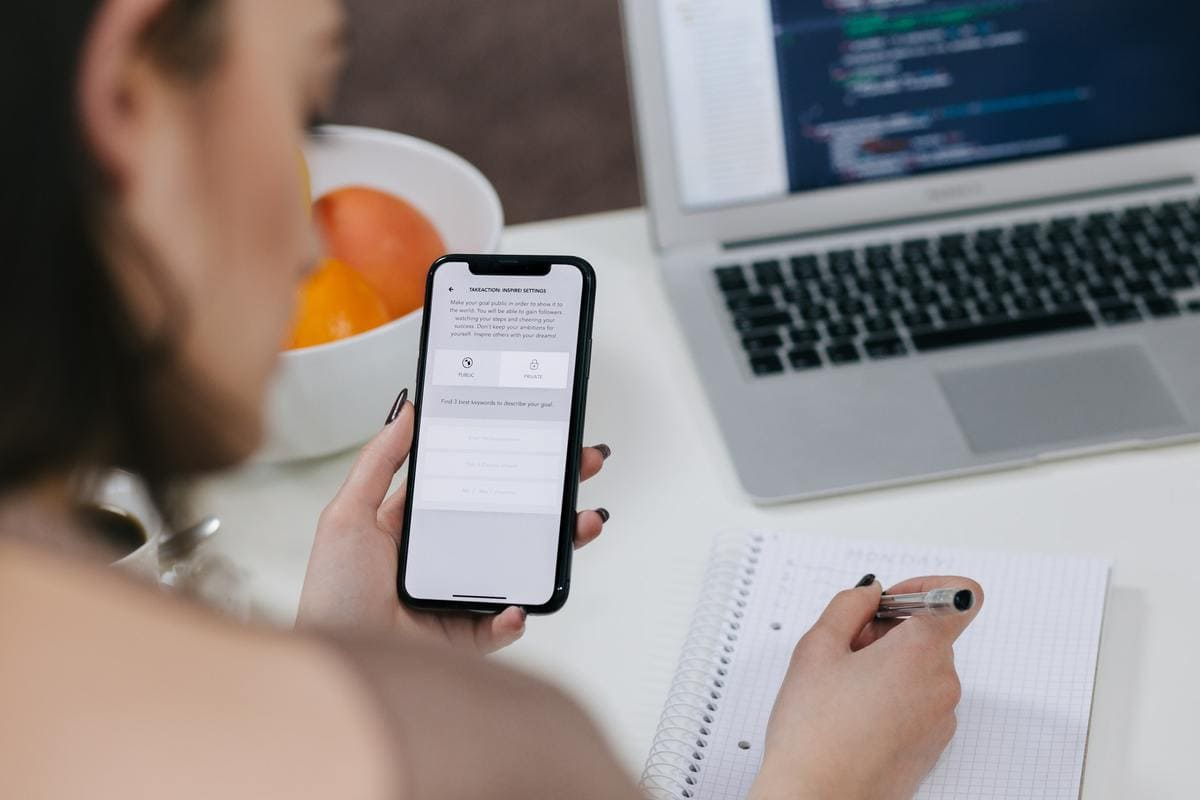Person testing mobile app