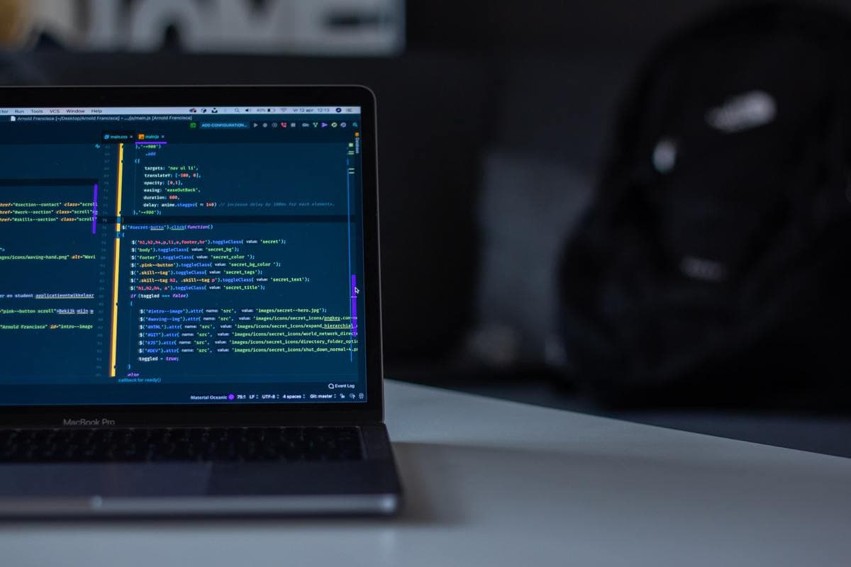 Code editor on laptop