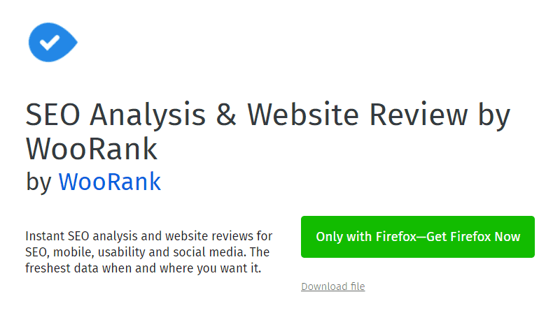 SEO Analysis & Website Review by WooRank Firefox extension