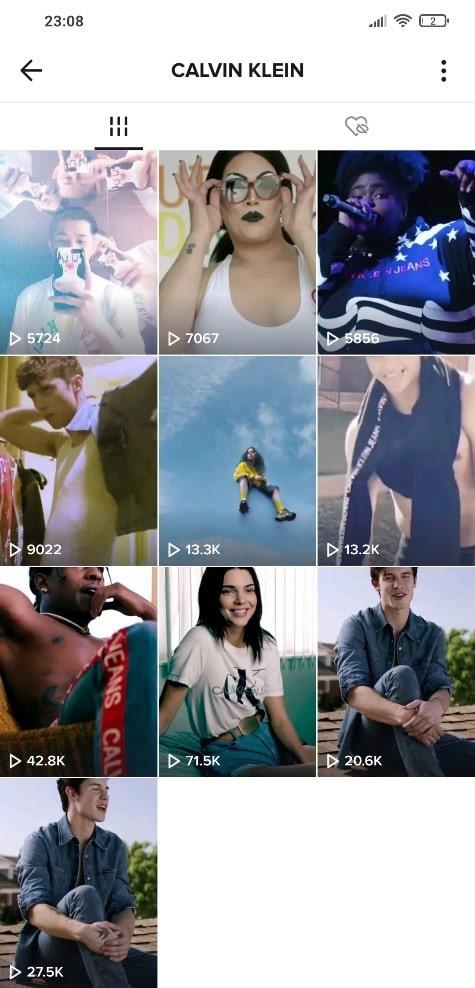 Calvin Klein TikTok account