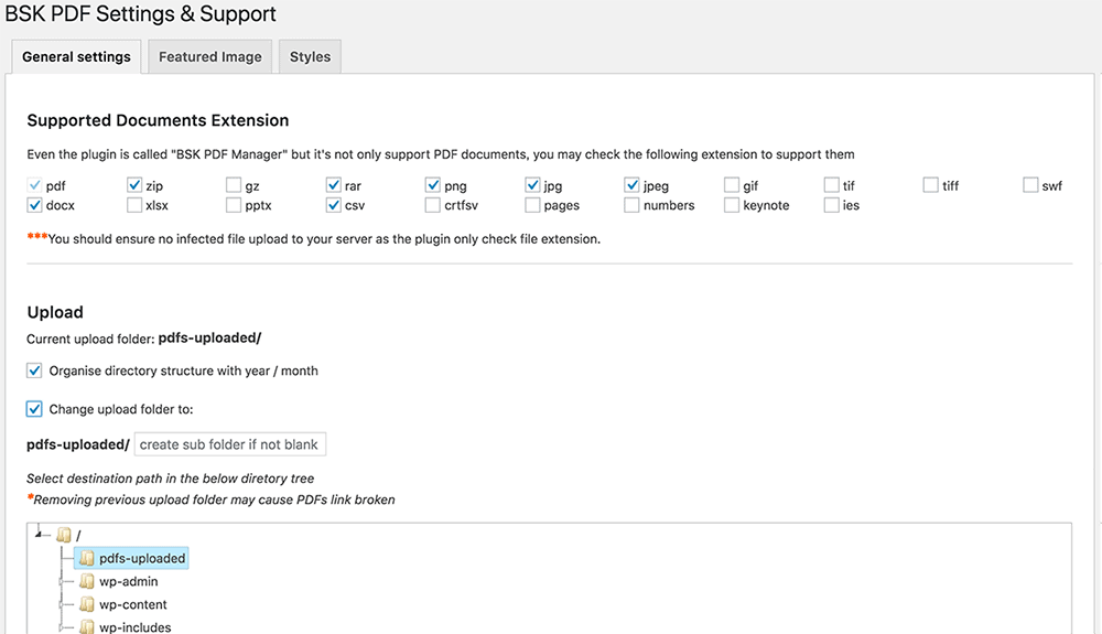 BSK PDF Manager plugin settings